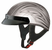 THH T-69 HALF HELMET SILVER AND BLACK TATTOO (EXTRA SMALL) DOT